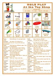 English Worksheets: ROLE PLAY  -  AT THE TOY SHOP