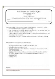 English Worksheet: Commercial Writing Assessment: Letter of Complaint