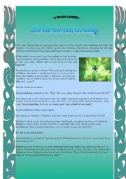 English Worksheets: a Maori legend- How the kiwi lost his wings