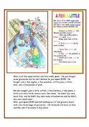 English Worksheet: A FEW AND A LITTLE