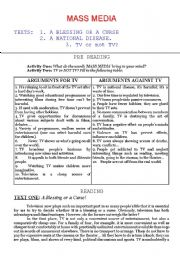 English Worksheet: Mass Media (Three Reading passages)