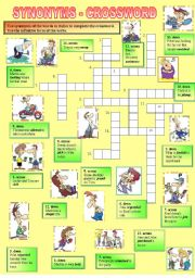 English Worksheet: SYNONYMS CROSSWORD