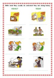 English Worksheets: usually....today