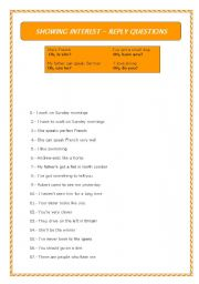 English Worksheets: reply questions - showing interest or surprise