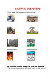 English Worksheet: reading, vocabulary natural disasters, tsunami