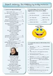 English Worksheet: Don´t worry be happy by Bobby McFerrin