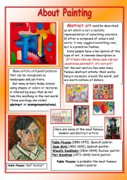 english worksheets about painting pablo picasso. Black Bedroom Furniture Sets. Home Design Ideas