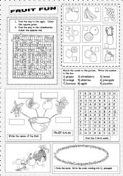 English Worksheet: Fruit Fun
