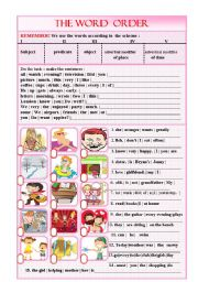 English Worksheet: WORD ORDER in the sentence