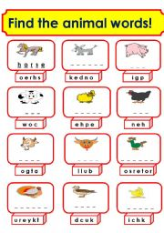 English Worksheets: animals (1/3)