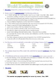 English Worksheets: World Heritage Sites   (all levels)
