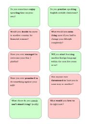 gerunds and infinitives speaking cards