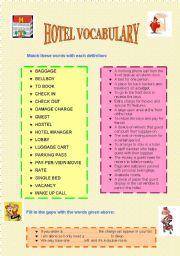 English Worksheet: HOTEL VOCABULARY EXERCISES