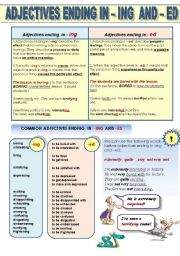 ADJECTIVES ENDING IN -ING AND -ED - 1 PAGE GRAMMAR-GUIDE