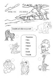 English Worksheets: african savanna