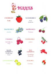 English Worksheets: Berries - Vocabulary and crossword