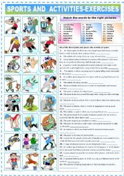 English worksheet: SPORTS AND ACTIVITIES - EXERCISES