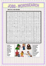 English Worksheet: WORDSEARCH - JOBS