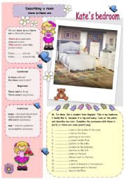 English Worksheets: Describing a room - there is/there are