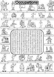 English Worksheet: Wordsearch OCCUPATIONS