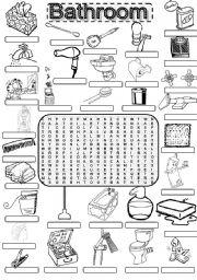 English worksheet wordsearch bathroom for British word for bathroom