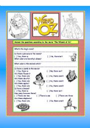 English Worksheet: Wizard of Oz activity