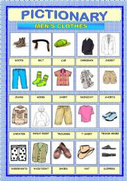 English Worksheet: PICTIONARY - MEN�S CLOTHES