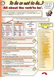 SUPER ENGLISH VERBS! PART 6 - TO BE - GRAMMAR-GUIDE (3 pages: to be as a main verb; to be as a linking verb; to be as an auxiliary verb and to be with modal meaning + a list of to be with adjectives and prepositions and set expressions with to be; to be a