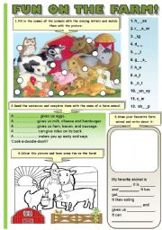 English Worksheet: FUN ON THE FARM! (B&W VERSION INCLUDED!!!) - FARM ANIMALS (4 different activities:spelling and matching, completing the sentences, writing activity and colouring)