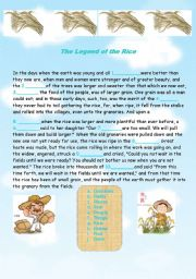 English Worksheets: the legend of the rice
