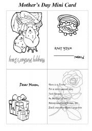 English Worksheet: Mother´s Day Mini Card