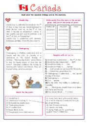 English Worksheet: ENGLISH-SPEAKING COUNTRY (8) - CANADA- EXERCISES