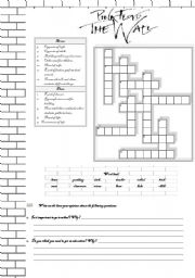 English Worksheet: ANOTHER BRICK IN THE WALL - PINK FLOYD   - 4 pages