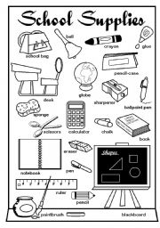 English Worksheet: School Supplies Pictionary