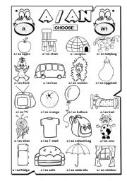 A / AN (1/2) - ESL worksheet by gabitza
