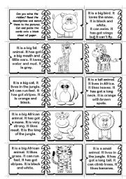 English Worksheet: Wild Animals Riddles matching / domino (2 pages -14 animals)