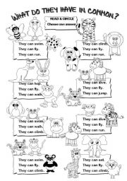 English Worksheet: What do they have in common? (can)