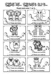English Worksheet: This is... These are ... series (5/7)