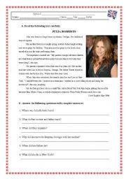 English Worksheet: JULIA ROBERTS -Reading Comprehension Test/Worksheet