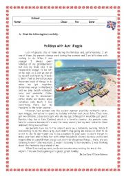 English Worksheets: HOLIDAYS WITH AUNT MAGGIE