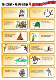 English Worksheets: Adjective+Preposition Part 4: Memo Cards (bad FOR, dangerous TO, capable OF, etc.)