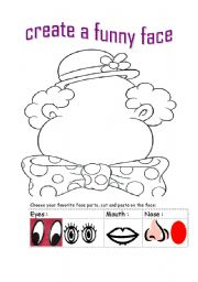 English Worksheets: create a face
