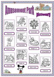 English Worksheet: Amusement park - pictionary