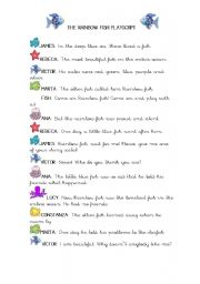 The Rainbow fish Playscript ESL worksheet by Alice