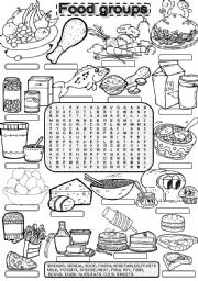 Worksheet Food Groups Worksheets english teaching worksheets food groups wordsearch groups