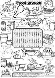 English Worksheet: Wordsearch FOOD GROUPS
