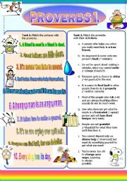English Worksheet: Proverbs I. (Part 2/2) Match Proverbs with Definitions/Pictures (+Solutions)