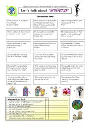 English Worksheet: Let�s talk about �WHAT IF�