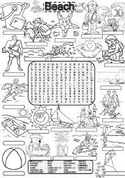 English Worksheet: Wordsearch BEACH