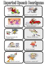English Worksheet: REPORTED SPEECH CARDS (30 CARDS)